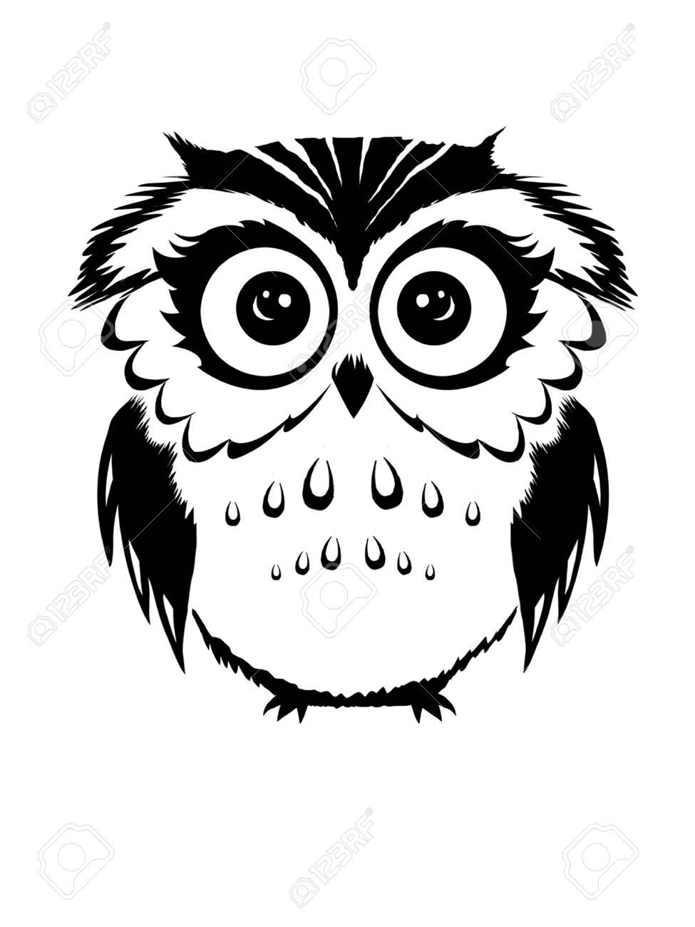 cute Owl black and white.