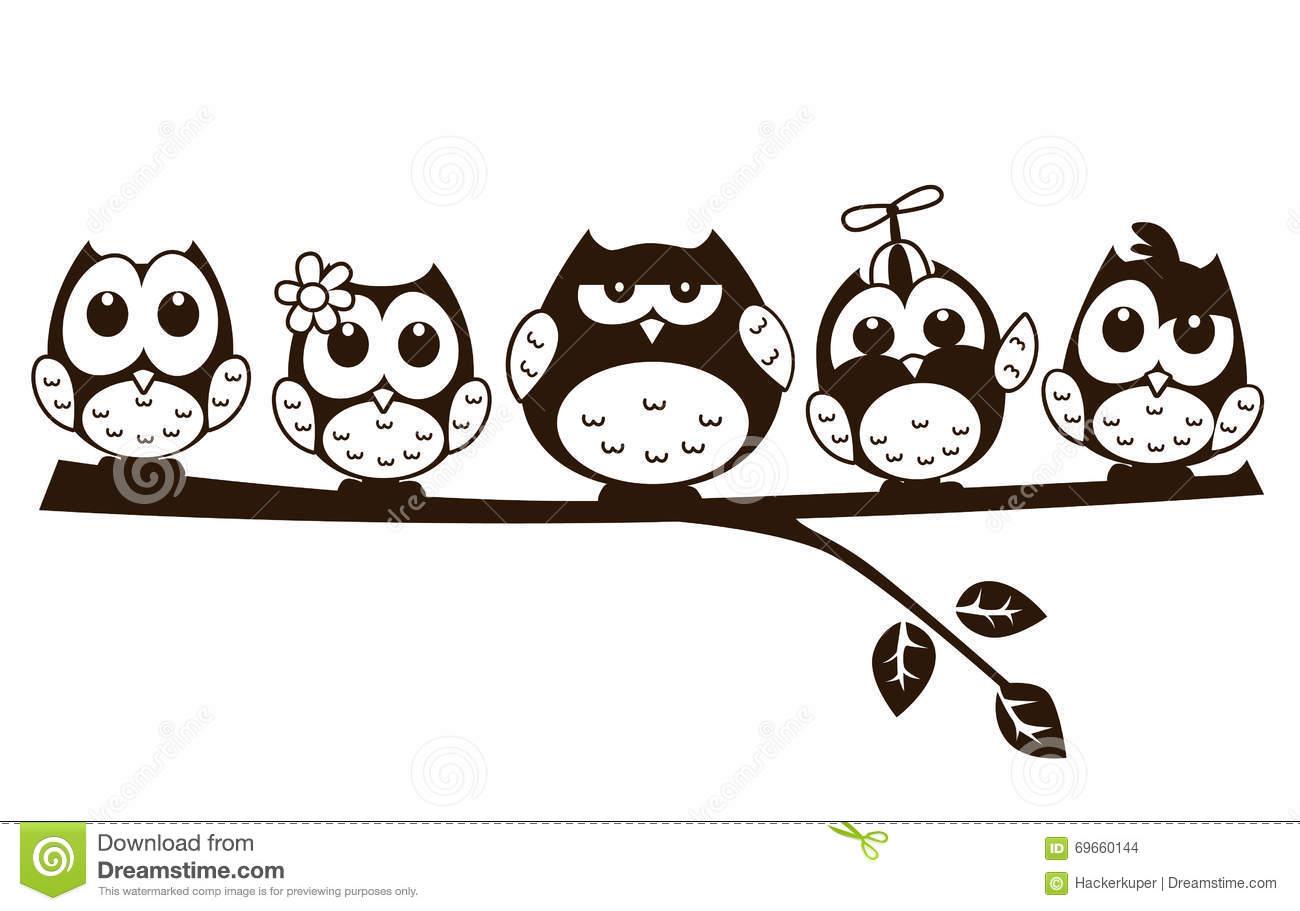 Vector Doodle Cartoon Cute Owl In Various Character Stock Vector.