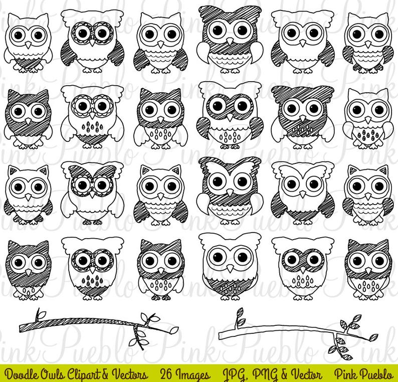 Cute Doodle Owl Clipart Clip Art, Black and White Doodle Owl Clipart Clip  Art Vectors.