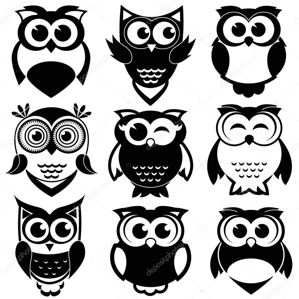 Cute black and white owl clip art.