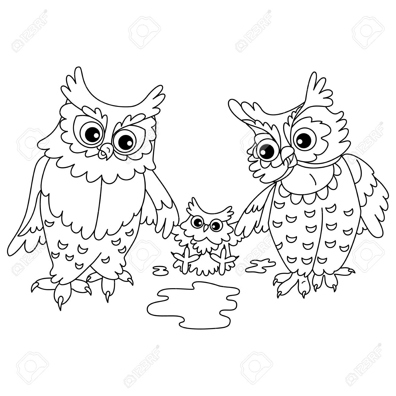 Vector black and white autumn cute owls. Vector owls with owlet.