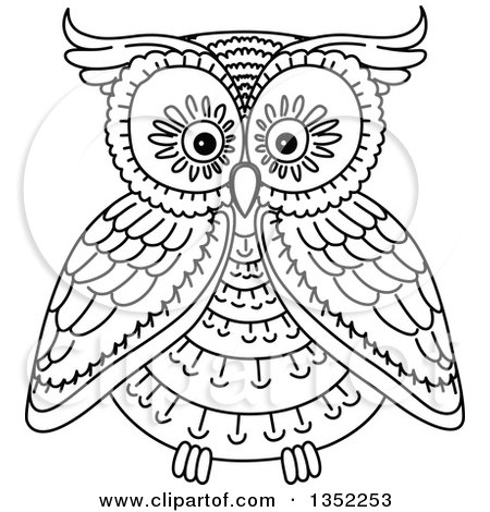 Clipart of a Cute Black and White Owl.