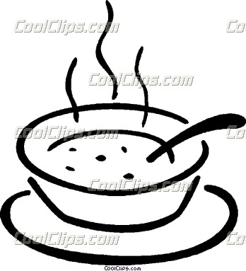 Cute Black And White Soup Clipart.