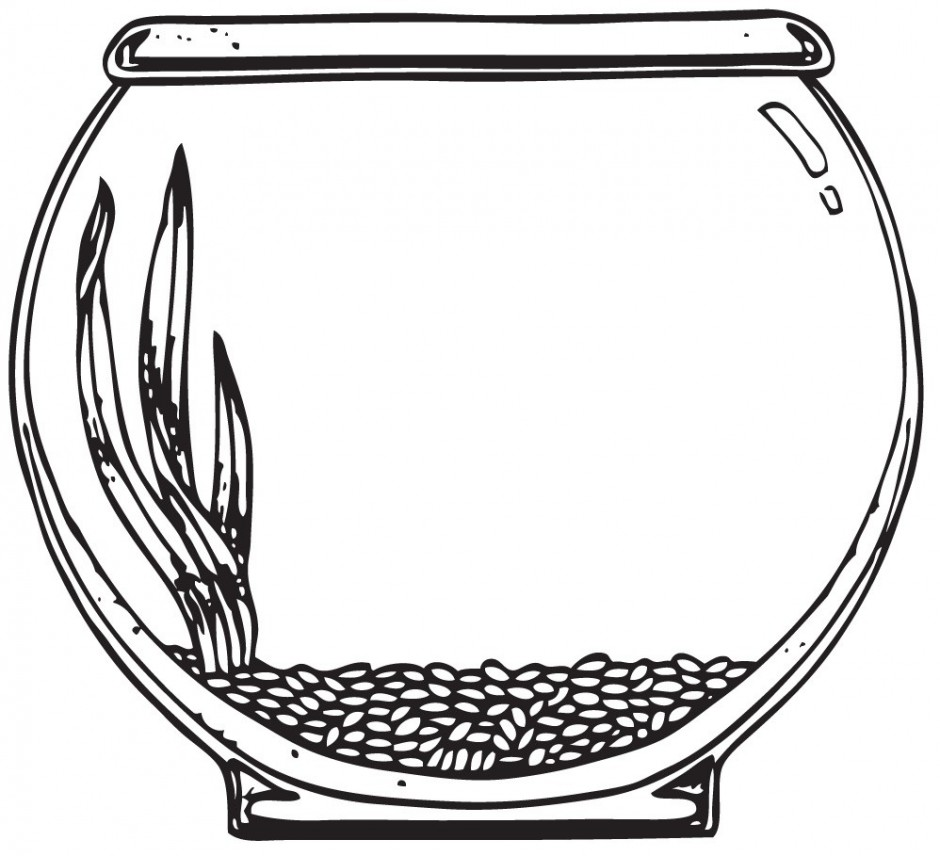 Free Cute Black And White Fish In A Bowl Clipart.