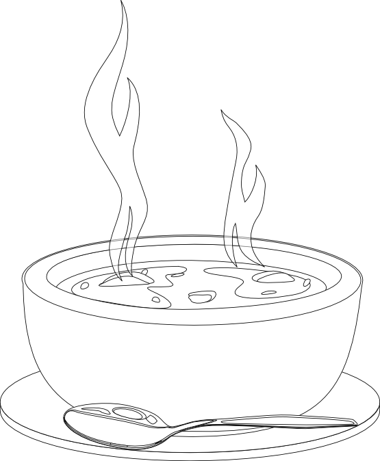 Soup Clipart Black And White.