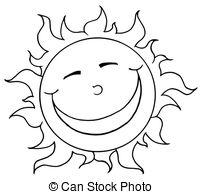Cute Sun Clipart Black And White.