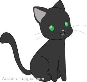 Clipart Illustration of a Cute Little Black Cat.