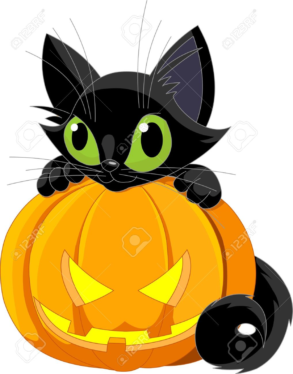 A Cute Black Cat On A Halloween Pumpkin. Royalty Free Cliparts.