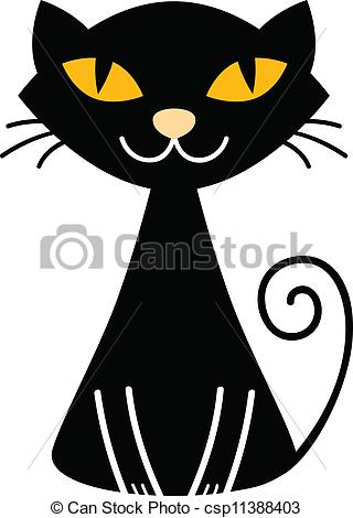 Vector Clipart of Cute halloween black Cat isolated on white.