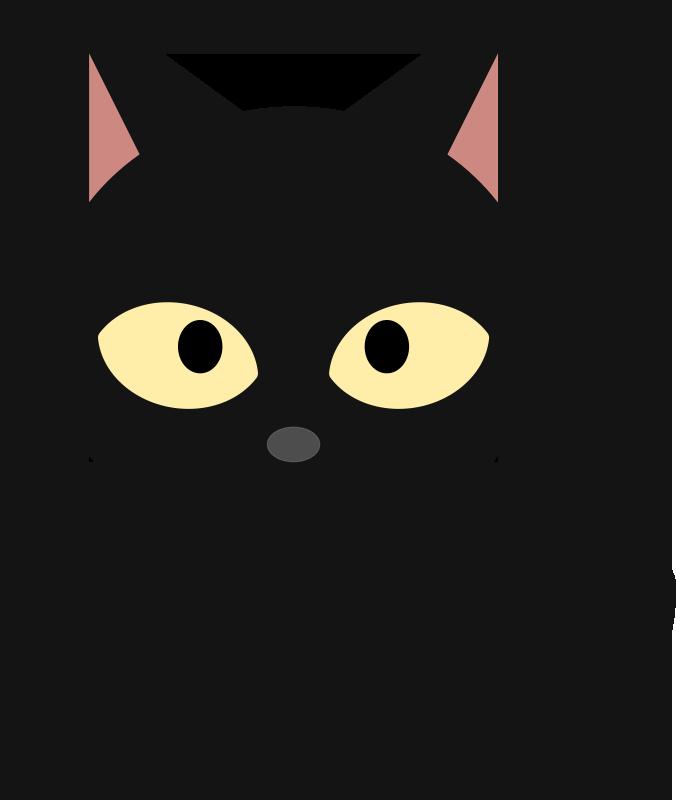 Cute Scary Black Cat Clipart.