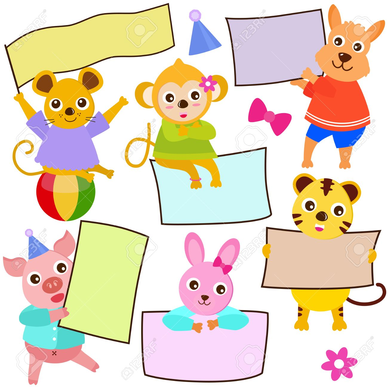 Animal Theme Of Cute Vector Icons / Tag : Blank Frame In Pastel.