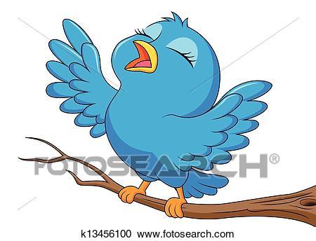 Cute blue bird cartoon singing Clipart.