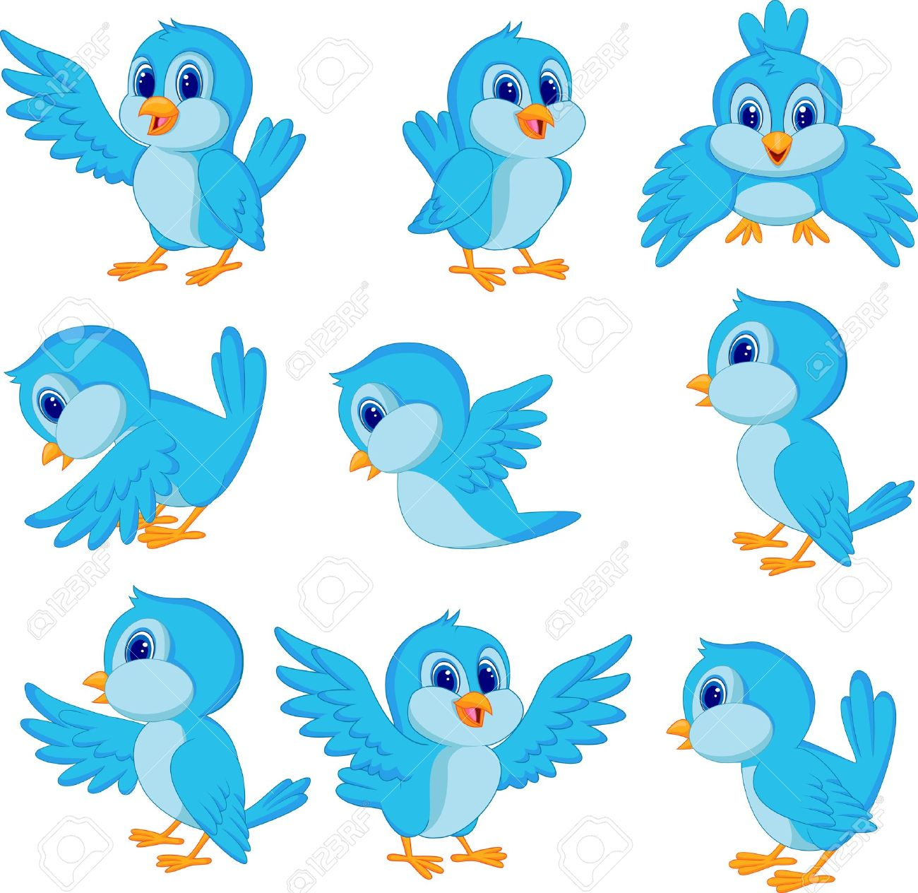 Cute blue bird cartoon.