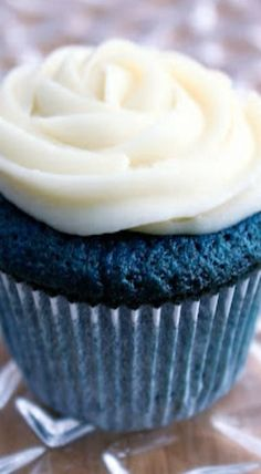 Blue Velvet Cupcakes ~ These cupcakes have a fine, delicate crumb.