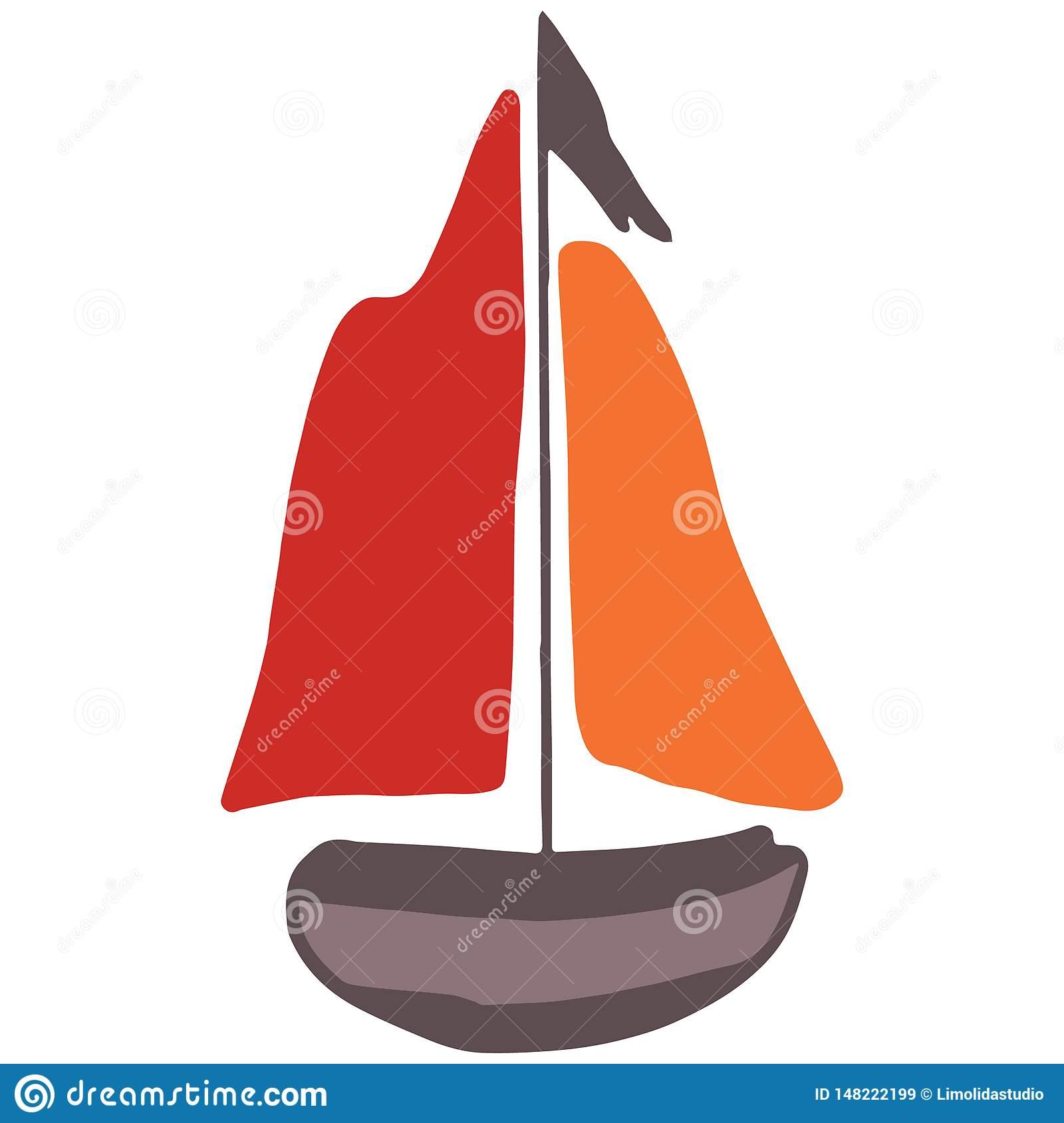 Cute Wooden Boat Cartoon Vector Illustration Motif Set. Hand Drawn.