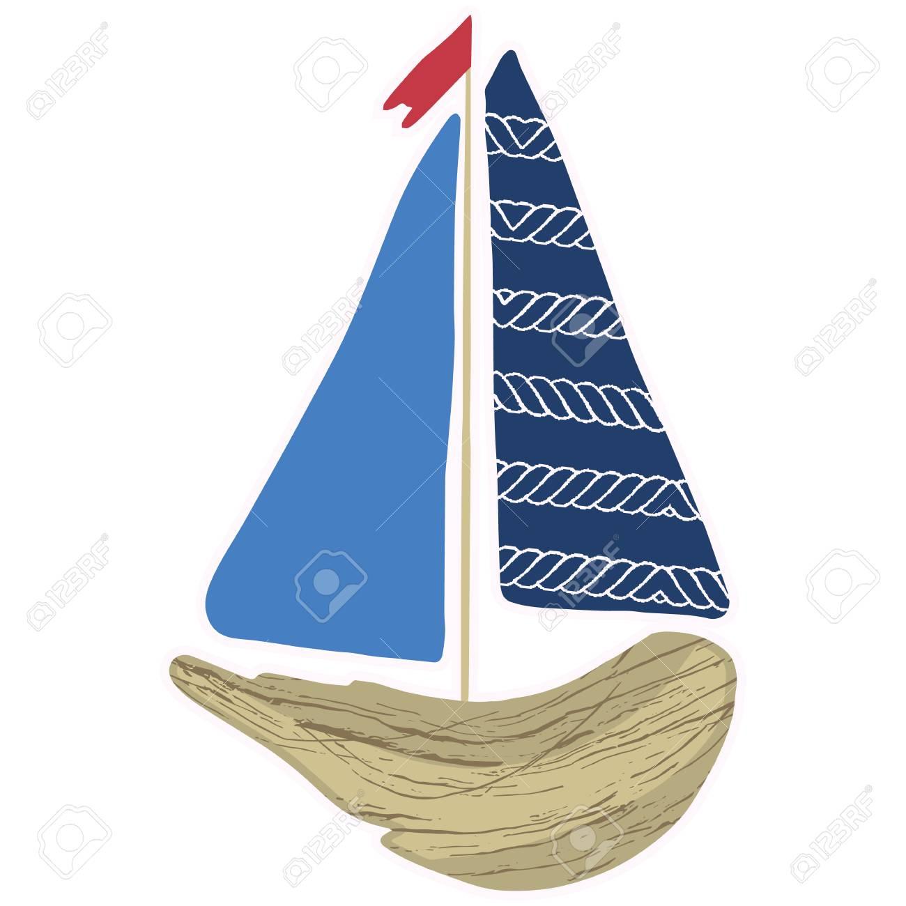 Cute navy driftwood boat cartoon vector illustration motif set.