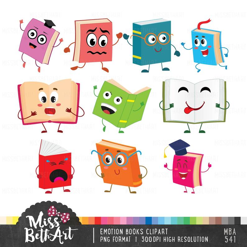 Cute Book / Library Clipart. Emotion books clipart.