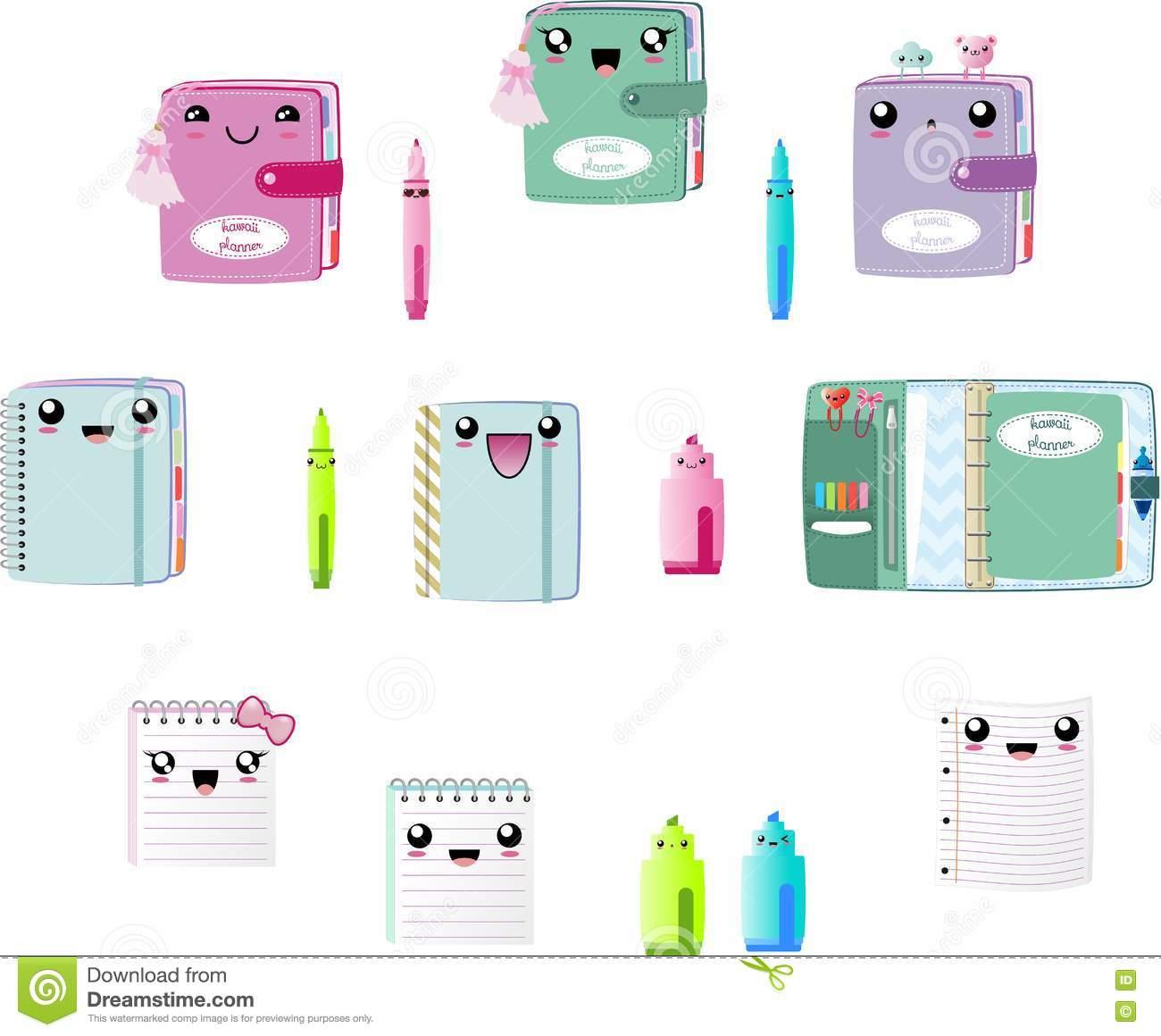 Kawaii Cute Planners Clipart Vector EPS, Notebook, Pen, Marker, Book.