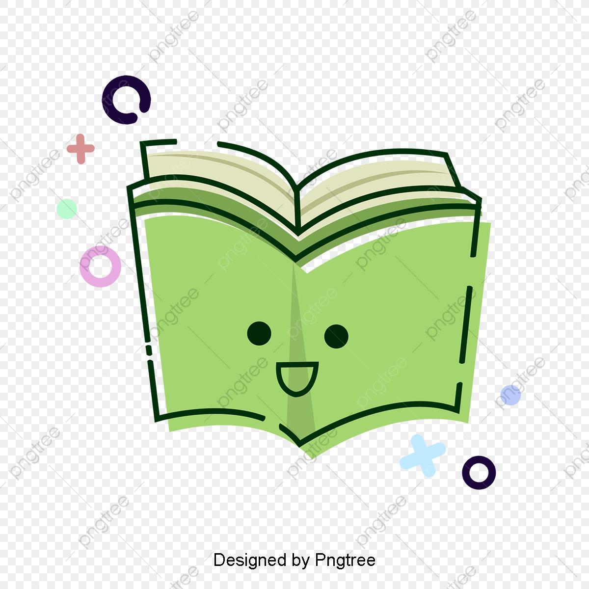 Green Cute Books Knowledge Ocean Elements, Book, Lovely Smiling Face.