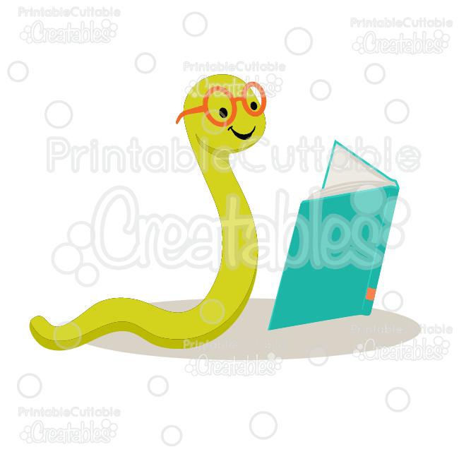 Cute Bookworm SVG Cut File & Clipart.