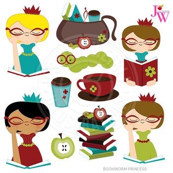 Bookworm Princess Cute Digital Clipart, Reading Graphics.