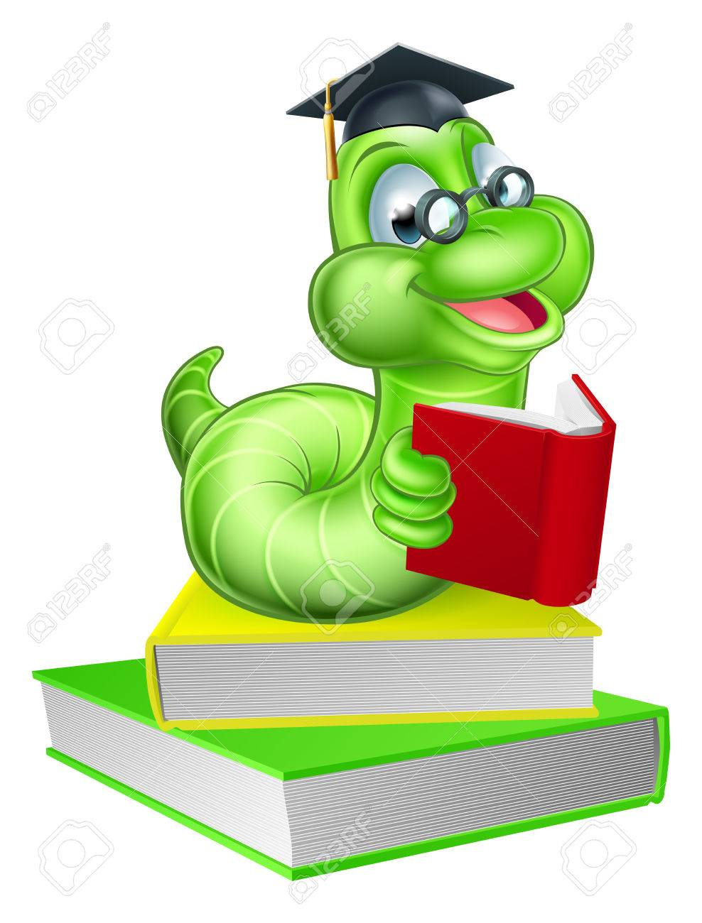 Cute smiling green cartoon caterpillar worm bookworm mascot wearing...