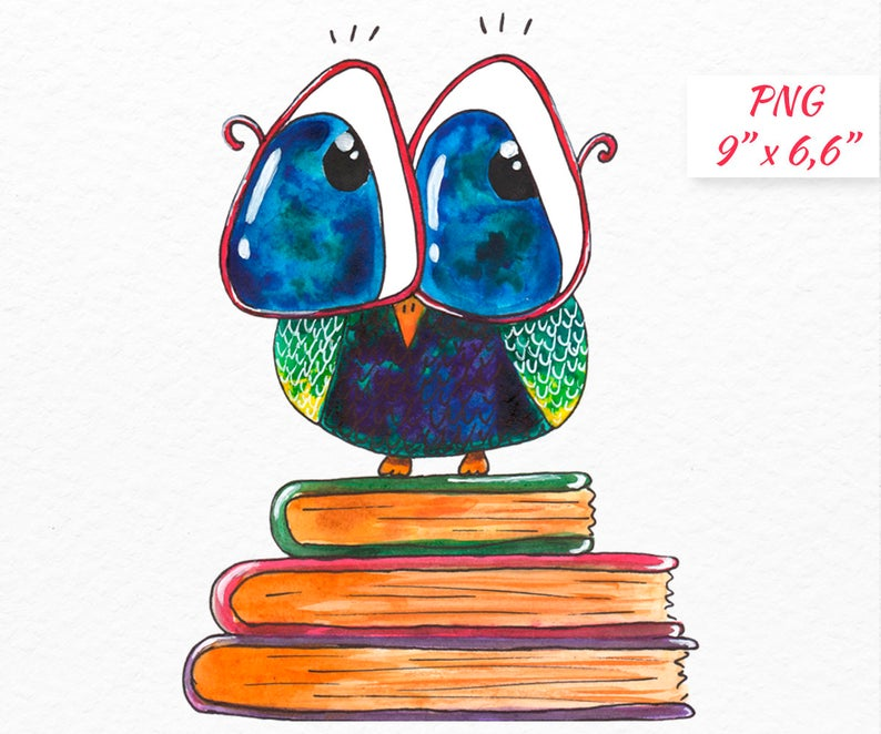 Bookworm clipart Cute Owl School clipart Owl with glasses Watercolor school  clipart Back to school Owl with books clipart Commercial use.