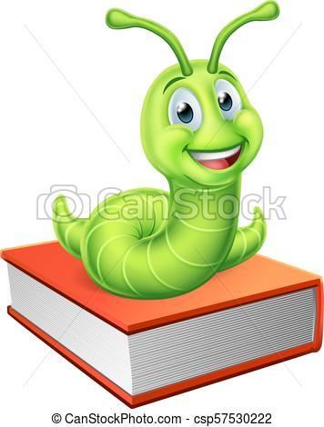 Bookworm Caterpillar Worm on Book.