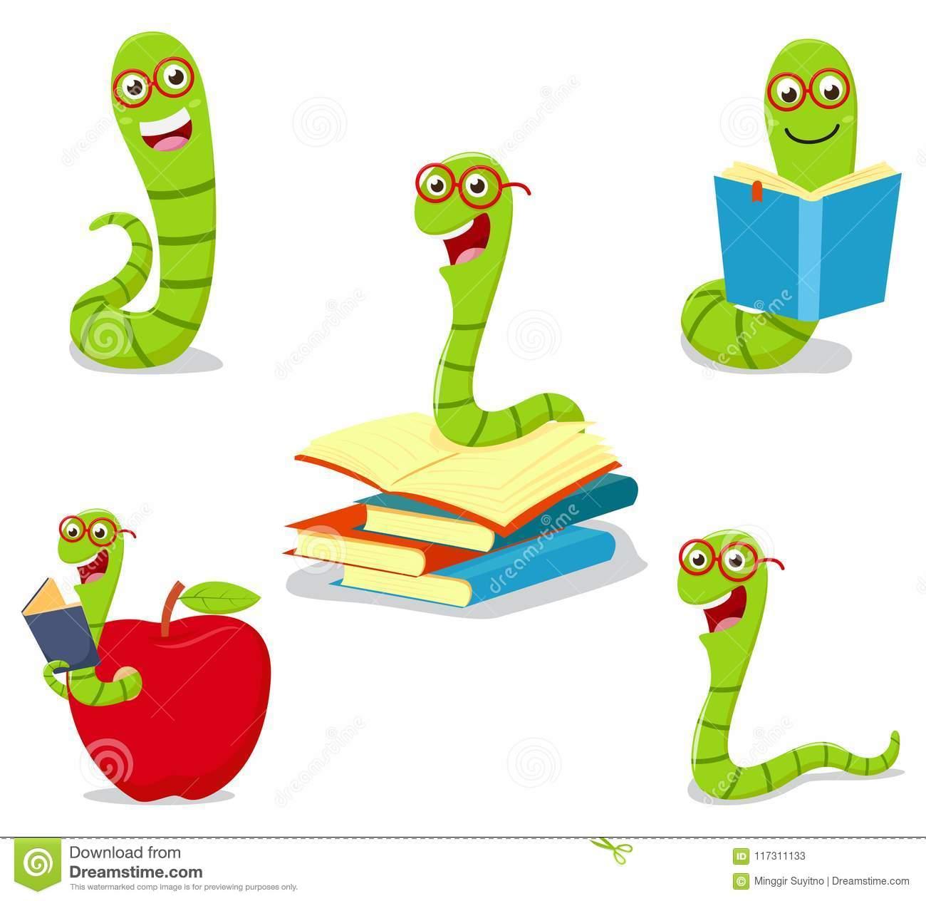 Cute Bookworm Cartoon Collection Set Illustration 117311133.