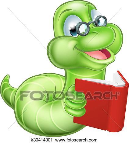 Bookworm Cartoon Clipart.