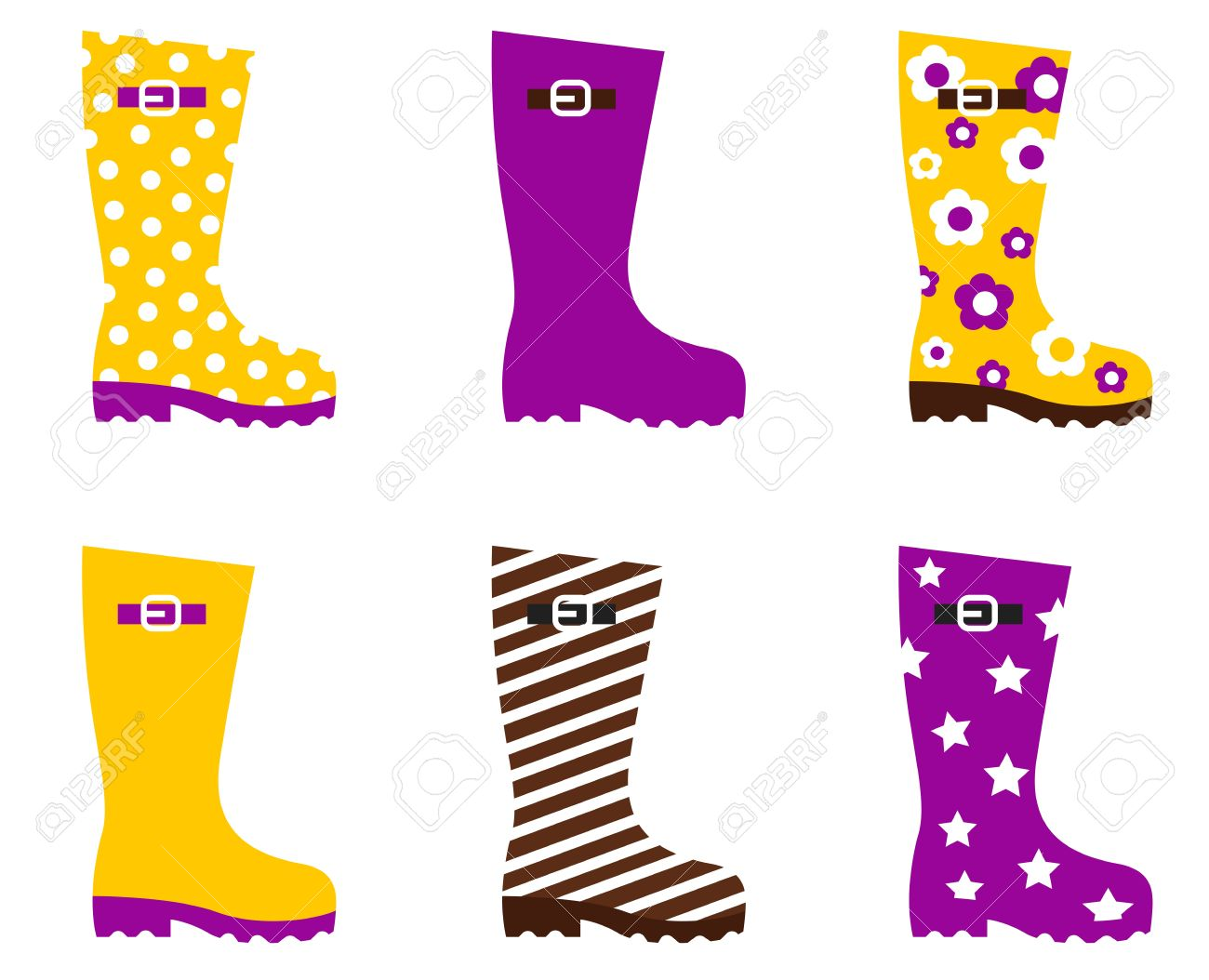 Cute Wellies Isolated On White. Vector Royalty Free Cliparts.