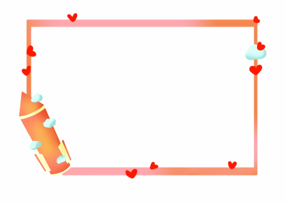 Cute Border Cartoon Rocket Love Png And Psd.