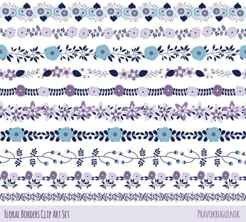 Violet flower border clipart, Cute floral border clip art, Beautiful  wedding clipart Divider flower edging Summer border garland Flower line.