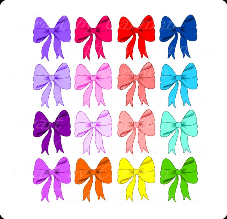 Bows clip art, cute bows, bow, digital art, scrapbook, graphic design, (  personal & small business use). Transparent background..