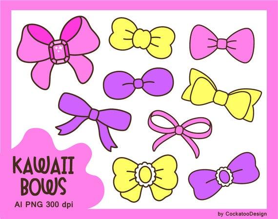 Kawaii bows clipart, cute bows, pink bow, yellow bow, purple bow, kawaii  clipart, easter clipart, easter bow, cute ribbon, girly clipart.