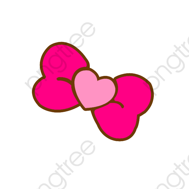 Pink Heart Shaped Bow, Bow Clipart, Cute Cartoon, Pink Heart PNG.