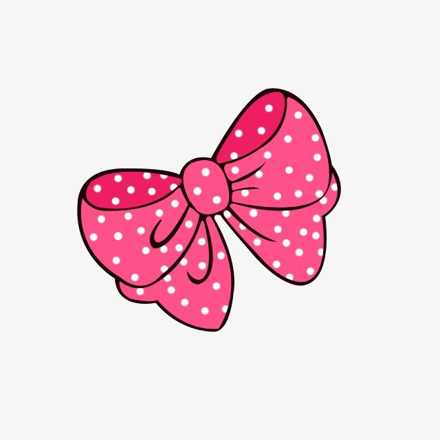 Pink Polka Dot Bow, Bow Clipart, Cute Cartoon, Cute PNG Transparent.
