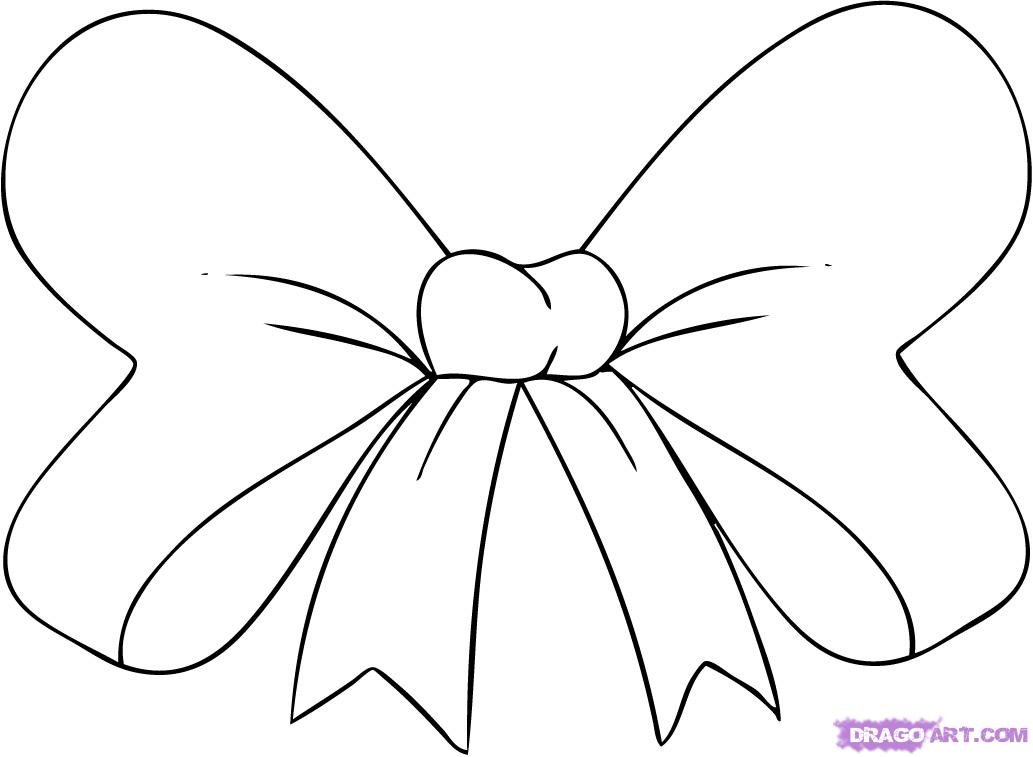 Cute bow coloring page free clip art.