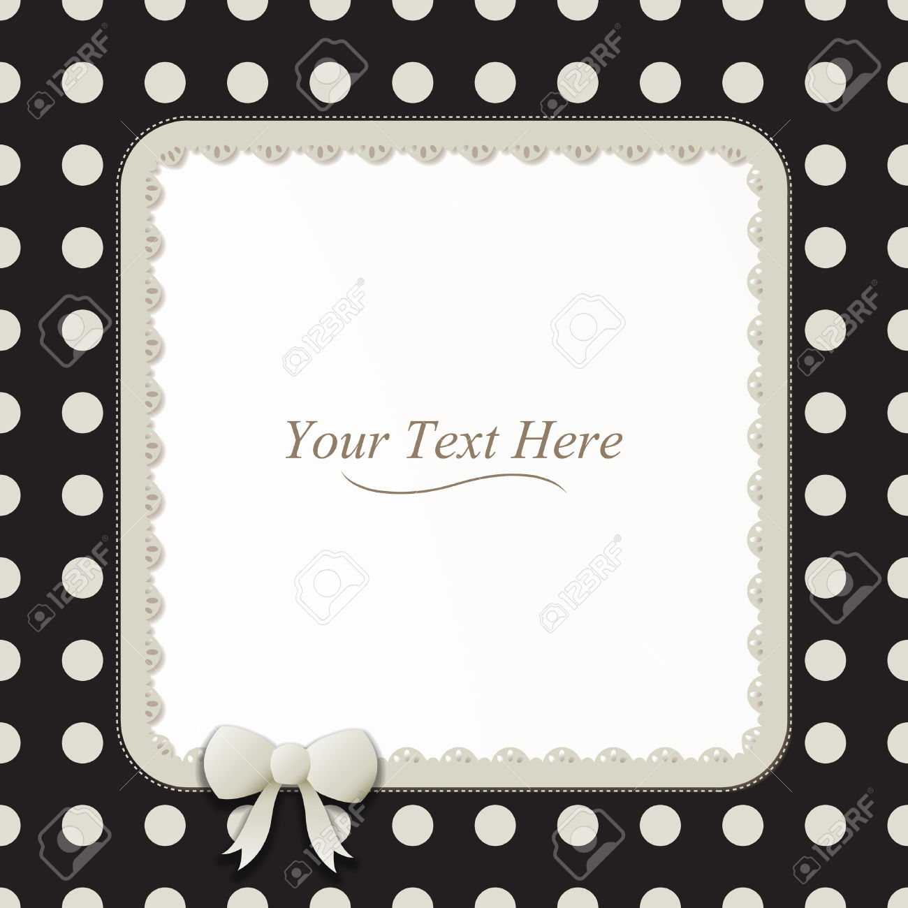 A Cute Black And White Polka Dot Square Frame Accented With A.