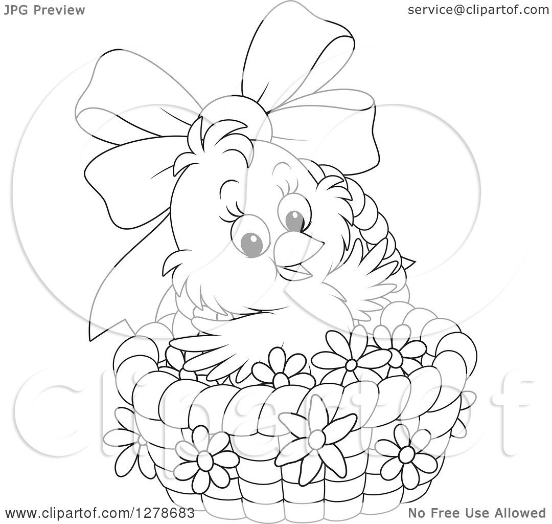 Clipart of a Black and White Cute Easter Chick in a Basket with a.