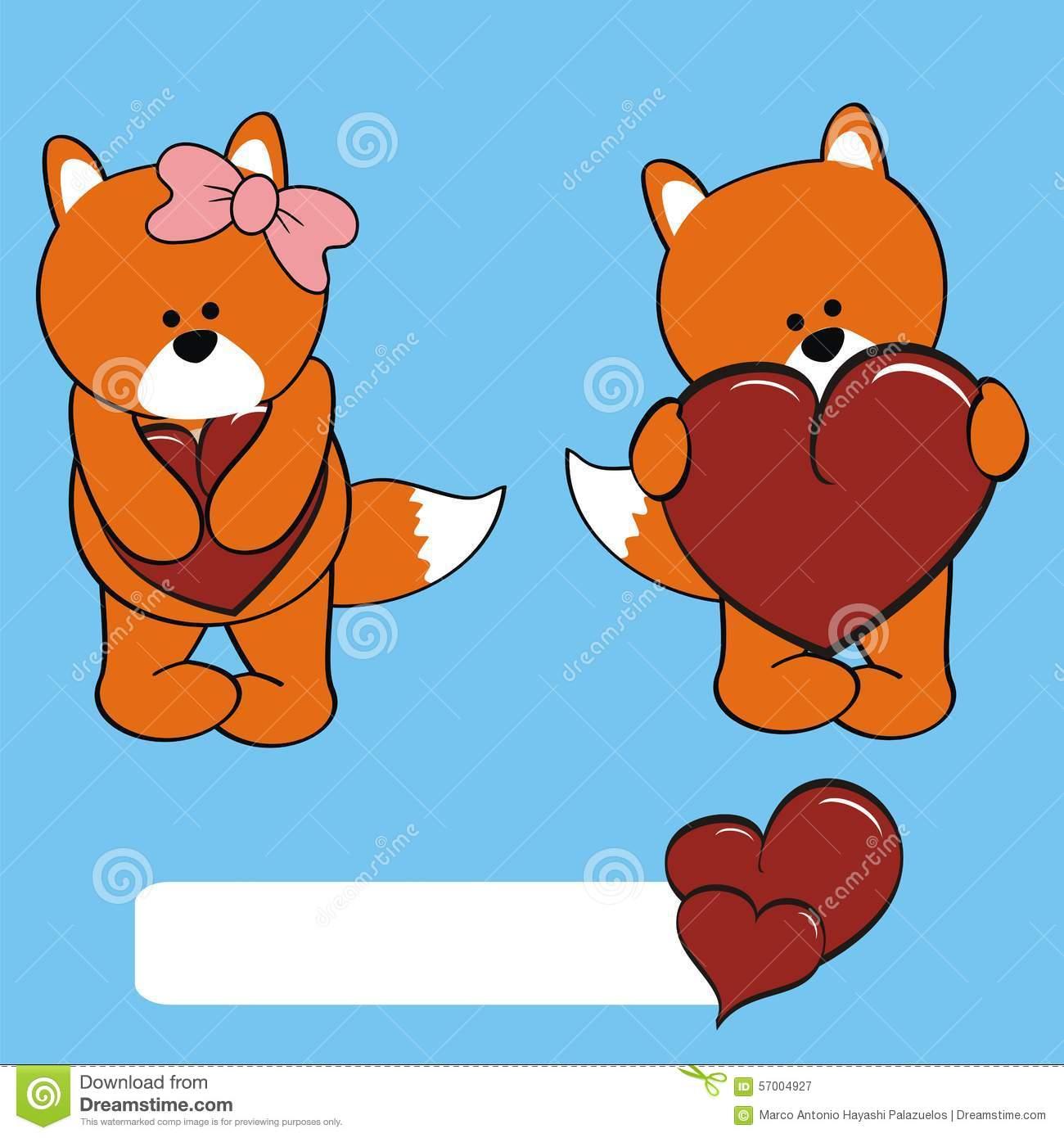 Cute Fox Girl And Boy Cartoon Stock Vector.