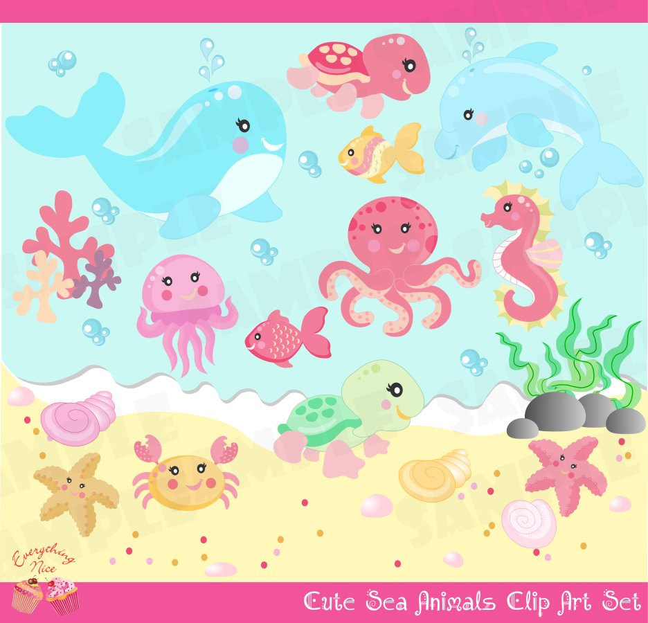 Cute Little Sea Animals Girl Clip Art Set.