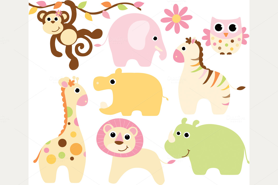 Cute Boy And Girl Animals Clipart.