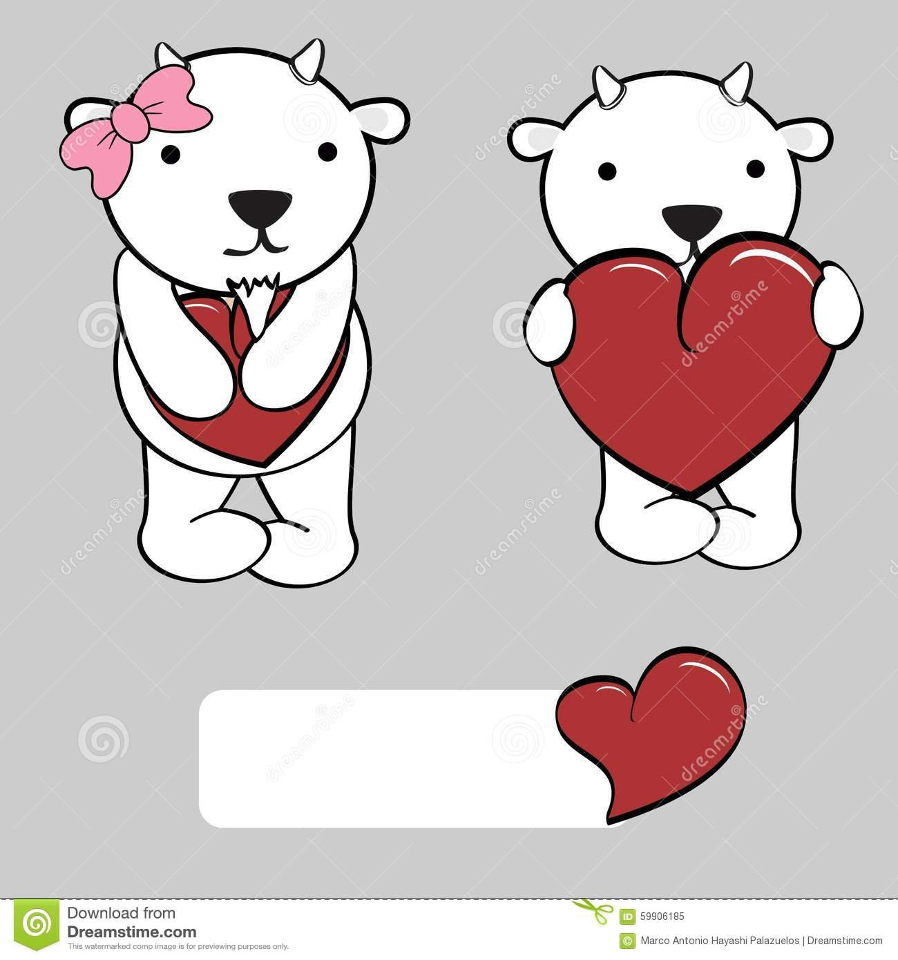 Cute Girl And Boy Goat Cartoon Love Heart Stock Vector.