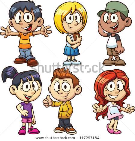 Cute cartoon boys and girls. Vector clip art illustration with.