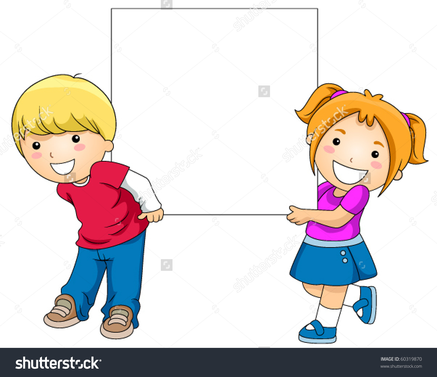 Cute Boy Girl Holding Blank Board Stock Vector 60319870.