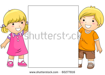 Cute Boy Girl Holding Blank Board Stock Vector 60277816.