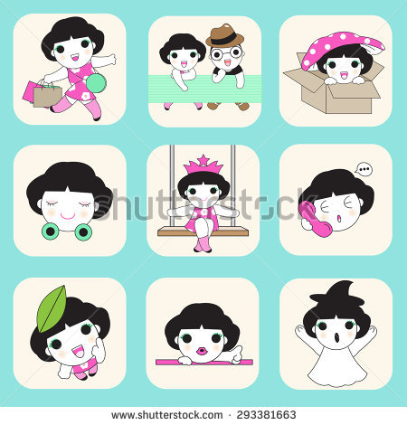 Cute Boy Girl Icon Illustration Set Stock Vector 293381663.