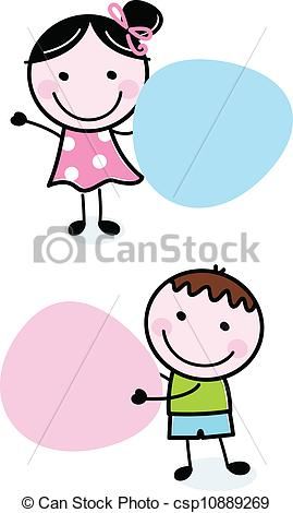 Clip Art Vector of Doodle boy and girl holding blank banners.