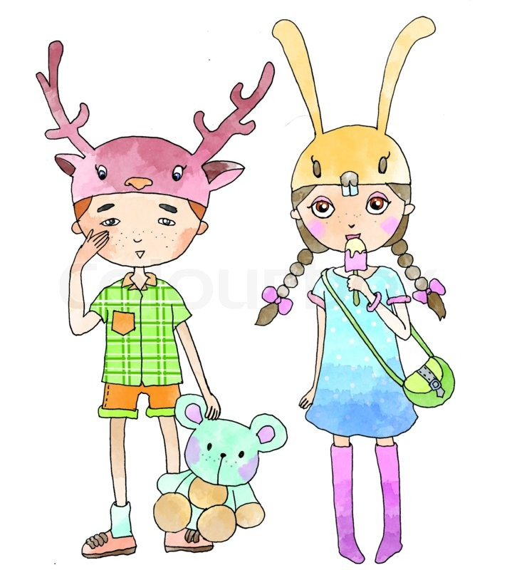 Cute boy and girl clipart, JPEG file.